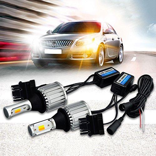 SOCAL-LED 2x T25 3157 LED Bulb Switchback Extremely Bright 30W 3000LM COB High Power DRL Turn Signal Light Kit, Canbus Error Free LED Decoder Resistor, White/Amber