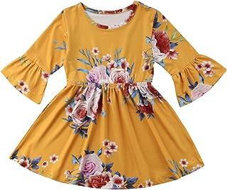 e3b342ac10b9 Toddler Kid Baby Girl Dress Floral Ruffle Half Sleeve Skirt Clothes Set