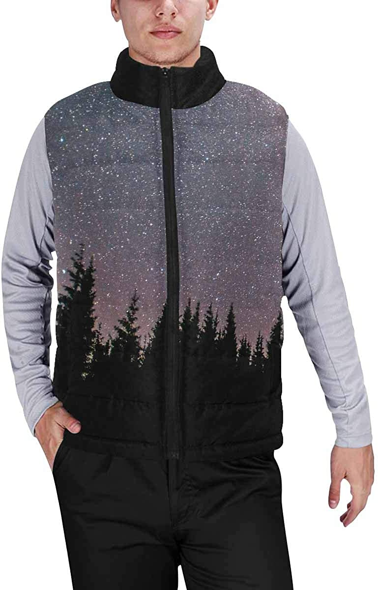 InterestPrint Winter Outwear Casual Padded Vest Coats for Men Day of the Dead Wedding Invitations