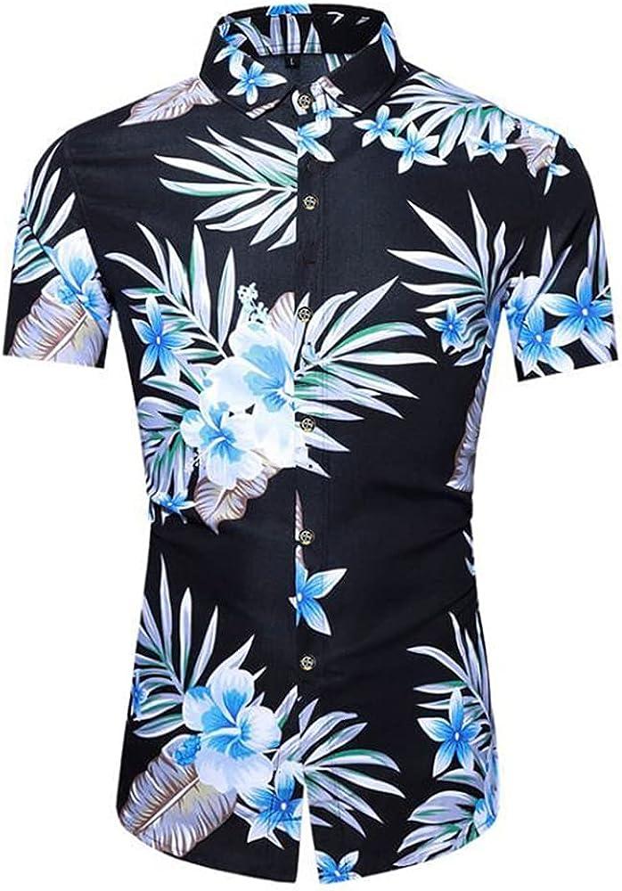 Camisa Hombre Slim Fit Transpirable Kent Collar Hombres Camisa Hawaiana Moda Vintage Botones Estampados Camisa Playa Manga Corta Negocios Urbanos Camping Hombre Camisa Casual