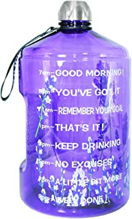 QuiFit Motivational Gallon Water Bottle - with Time Marker & Handle BPA Free Reusable Sports Water Jug Helps You Drink Mor...