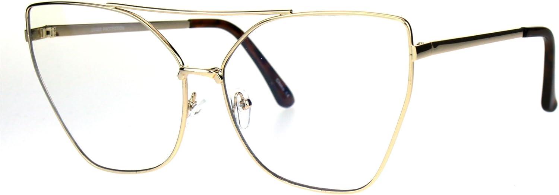 Womens Gothic Retro Squared Futurism Flat Panel Clear Lens Eye Glasses
