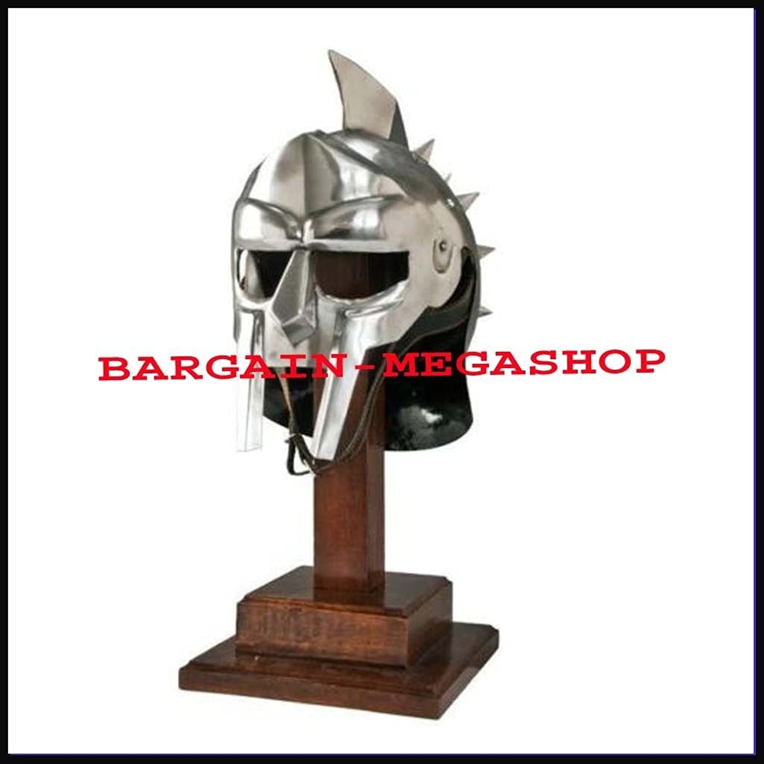 Wearable Gladiator Maximums Roman Spiked Helmet 18 Gauge with Faux Leather Liner