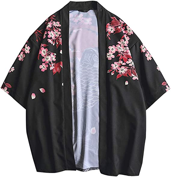 LaoZanA Hombres Vintage Japonés Kimono Camisa Haori Estampado Holgado Cárdigan