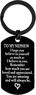 to My Nephew Keyring Nephew Gifts Inspirational Gift for Nephew from Aunt Uncle Encouragement Keychain for Nephew I Hope You Believe in Yourself Birthday Motivational Graduation Gift