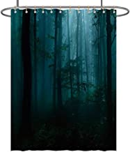 CUDEVS Spooky Dark Forest at Night in MoonColorful,Fabric Shower Curtain for Bathroom 36x72