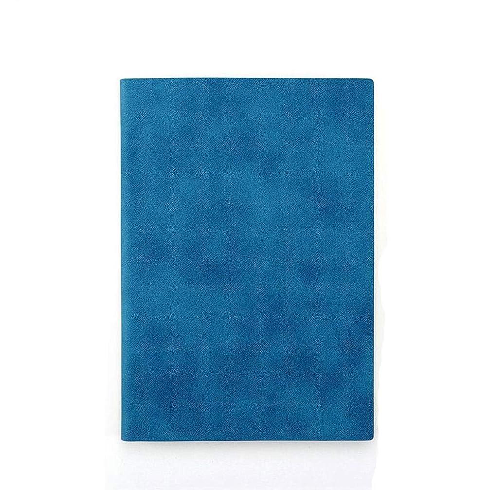 司法骨髄シールドノート レトロ無地ビジネスノート文房具メモ帳ビジネスクリエイティブシンプルな日記会議記録厚手ノート メモ帳 (Color : Medium blue)