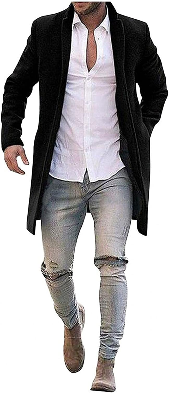 LEIYAN Mens Slim Fit Trench Coat Casual Long Sleeve Heavyweight Thermal Woolen Coat Retro Stand Collar Windbreaker