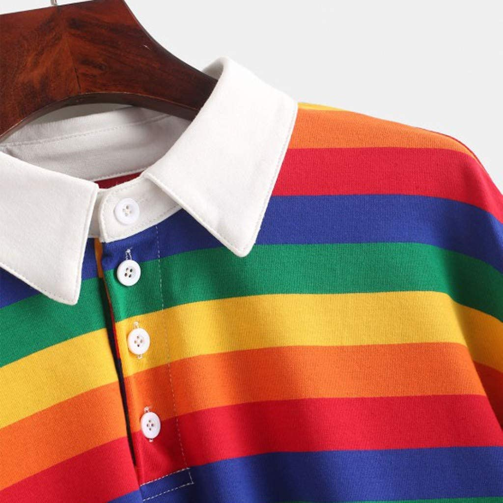 Womens Stripe Color Block Pullover Rainbow Long Sleeve Hoodies Sweatshirt Loose Fit Button Tops Blouse