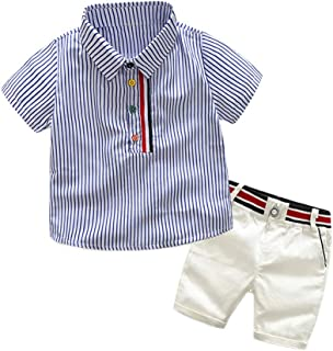Top and Top Toddler Baby Boys Short Sleeve Button Down Blue Striped Shirts Short Pants Clothing Sets