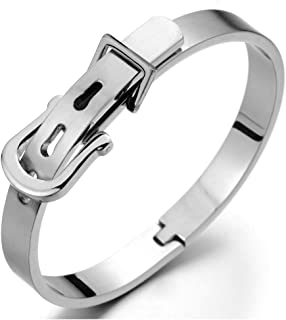 COOLSTEELANDBEYOND Womens Stainless Steel Bangle Bracelet Cuff Bracelet Silver Color Satin with Unique Buckle Clasp