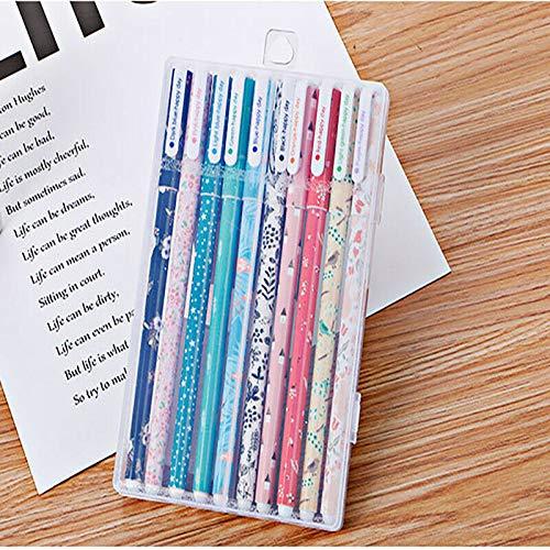 SENRISE 10 bolígrafos de gel kawaii, artículos de papelería para estudiantes, colegio, subrayadores coloridos, 10 colores
