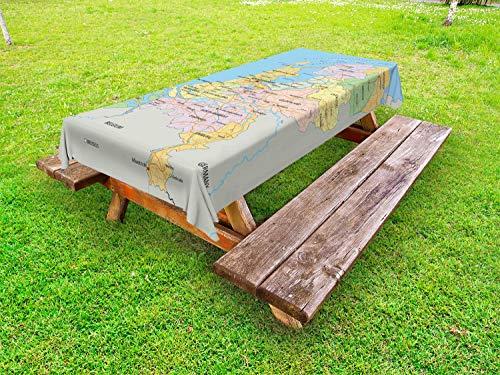 ABAKUHAUS Amsterdam Tafelkleed voor Buitengebruik, Kaart van Omgeven Regio, Decoratief Wasbaar Tafelkleed voor Picknicktafel, 58 x 104 cm, Veelkleurig
