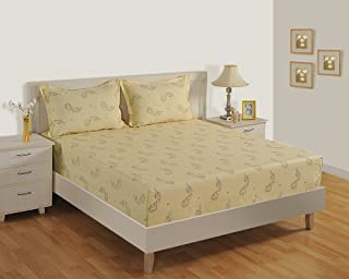 Swayam Green Colour Bed Sheet with Pillow Covers