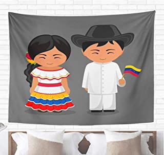 Topyee Home Decorative Tapestry Wall Hanging Venezuelans in National Dress Flag Man and Woman Traditional Costume 50