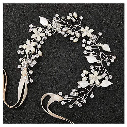 SWEETV Wedding Headband Silver Bohemian Headpiece for Bridal Hair Pieces Crystal Pearl Hair Vine Flower Halo Wedding Hair Accessories