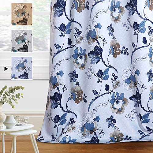 H.VERSAILTEX Blackout Curtains for Bedroom/Living Room Thermal Insulated Printed Curtain Drapes 63 Inches Long Energy Efficient Room Darkening Curtains Pair (2 Panels), Vintage Floral Blue & Taupe
