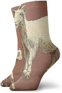 Adamitt, Novedad Divertido Crazy Crew Sock Grabado Cabra Y Niño Retro Impreso Sport Calcetines Deportivos 30Cm Calcetines de regalo personalizados largos