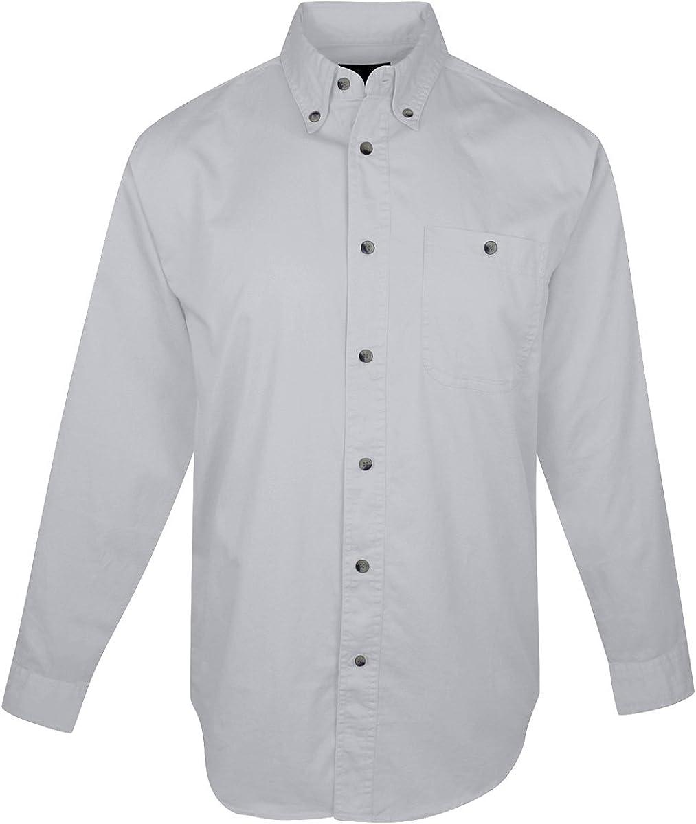 Tri-Mountain Big and Tall 6 oz. Cotton Long Sleeve Twill Shirt Light Gray