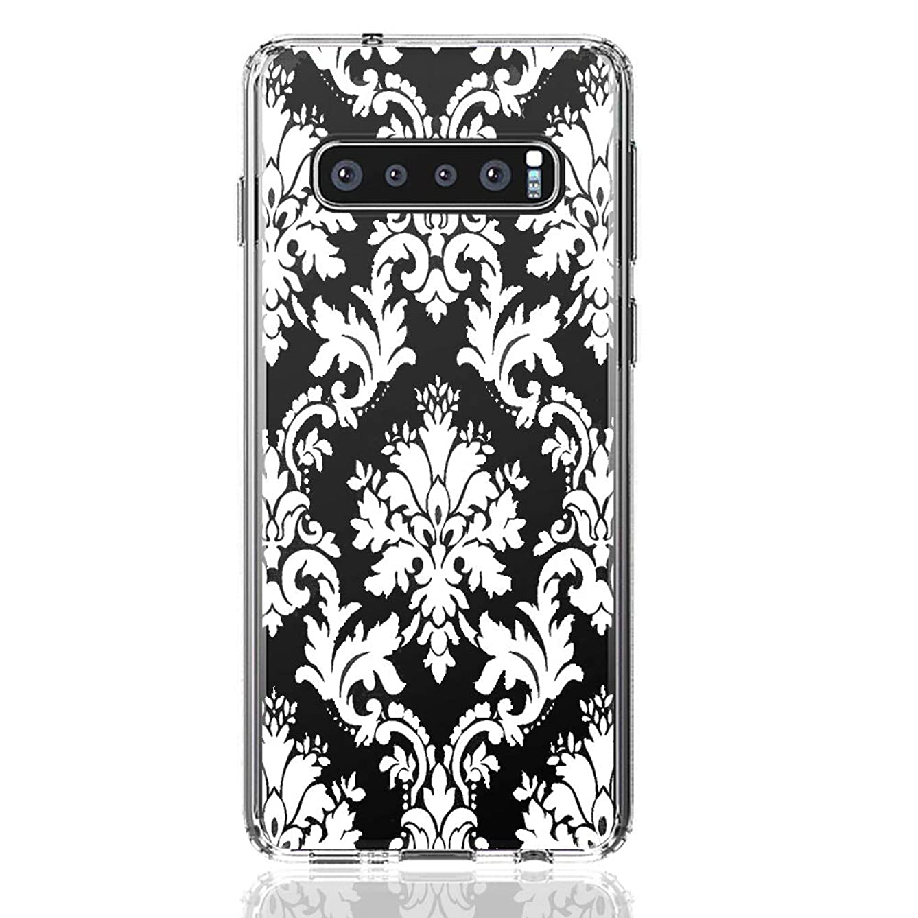 HUIYCUU Case Compatible with Galaxy S10 Plus Case, Shockproof Cute Clear Design Flower Pattern Slim Fit Soft Bumper Back Cover for Girl Women Shell for Samsung S10 Plus, White Mandala