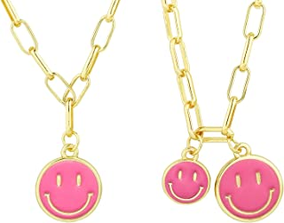 NEWITIN 2 Pack Smiley Face Necklaces Double Smiley Face Necklace Gold Alloy Paper Clip Chain for Women