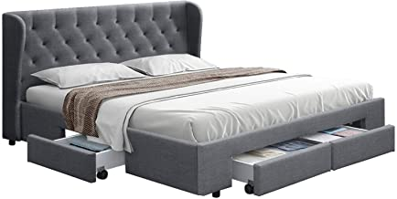 Artiss Mila King Bed Frame Fabric with Storage Drawers, Grey