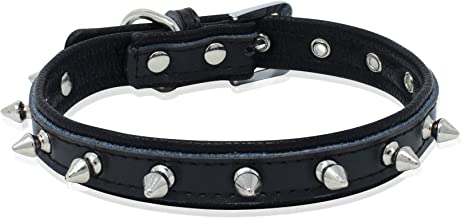 Epic Rogue Spiked Studded Rivet Leather Dog Collar and Cat Collar, Genuine Leather Soft Padded Pet Collar for Female Male Cats Puppy and Small Medium Large Dogs