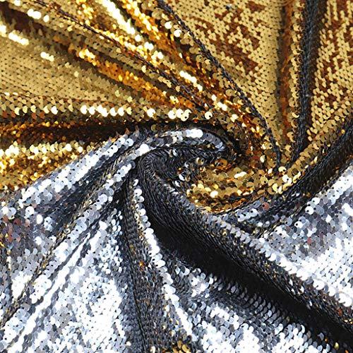 Pailletten-Stoff zum Nähen, wendbarer Pailletten-Stoff von The Yard, Stoff, Duschvorhang, Paillettenstoff, Flip-Up-Stoff, Stickerei, Stoff, Farbwechsel-Stoff für Hochzeitskleid 1 Yard Silber bis Gold.