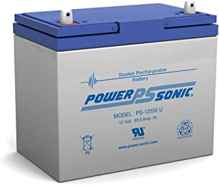Powersonic PS-12550 - 12 Volt/55 Amp Hour Sealed Lead Acid Battery with Nut-Bolt Terminal