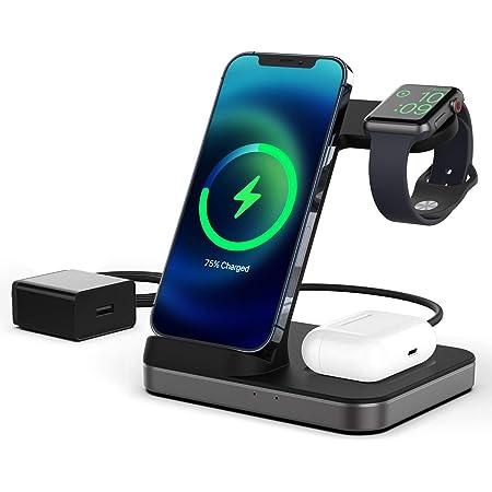 Boaraino Cargador Inalámbrico, 3 en 1 estación de carga inalámbrica para Apple Watch 6/SE/5/4/3, Airpods 2/Pro, iPhone 12/12 Pro/12 Pro Max/11/11 Pro/X/Xr/Xs/8 P/8, Galaxy S20 (Sin QC 3.0 Adaptador)