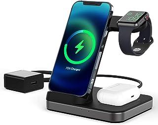 Boaraino Cargador Inalámbrico, 3 en 1 estación de carga inalámbrica para Apple Watch 6/SE/5/4/3, Airpods 2/Pro, iPhone 12/...