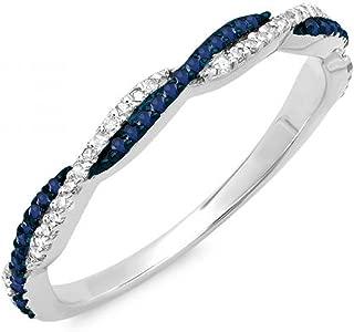 Dazzlingrock Collection 18K Gold Round Blue Sapphire & White Diamond Ladies Anniversary Wedding Band Swirl Stackable Ring