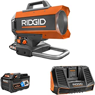 Ridgid 18-Volt Hybrid Forced Air Propane Portable Heater Kit with Battery and Charger R8604242B + AC801 (Bulk Packaged, Non-Retail Packaging)