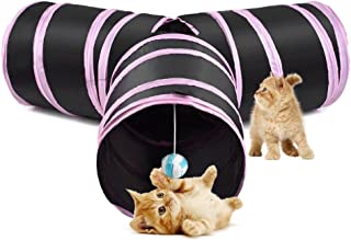 SlowTon Cat Tunnel Toy, Crackle Paper Collapsible Tube Three Connected Run Road Way Tunnel Catnip House with Fun Ball Puzz...