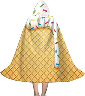 QBahoe Kids Cape Cloak with Hood Melting Ice Cream Cones Sprinkles Halloween Hooded Cloaks Costumes Cosplay Capes Robe Witch Party Hooded Cloak