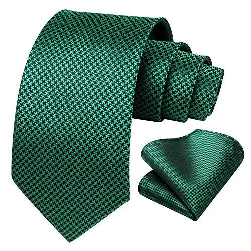 HISDERN Pata de gallo de los hombres Lazo del banquete de boda Panuelo Conjunto de corbata y bolsillo cuadrado