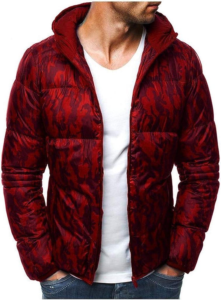 Chaqueta De Plumas para Hombre Camuflaje Cremallera Blusa De Lana Abrigo para Hombre Abrigo Engrosador Pullover Outwear Top Blusa