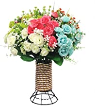 Yomais Artificial Flowers with Vase, 8 Bundles Fake Flowers Bouquet with Vase Lifelike Natural Flower Arrangements for Home Garden Party Wedding Office Decoration (8 Pack with Cylinder Shape Vase)