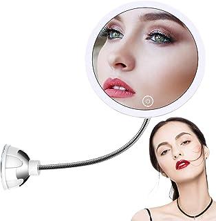 STLOVe LED Espejo de Maquillaje Aumento de 10X con Ventosa & el Cuello de Cisne Flexible Ajustable 360 ° Espejo de Baño (M...