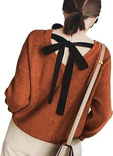 【在庫セール】[ニーマンバイ] バック リボン ニット 柔らか セーター デザインニット レディース S~L