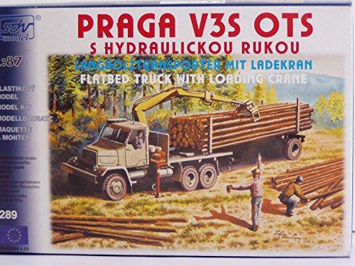 SDV Modellbau Kunststoff Modellbausatz 1:87 H0 LKW Truck Praga V3S OTS Langholztransporter mit Ladekran Fahrzeuge Ostblock