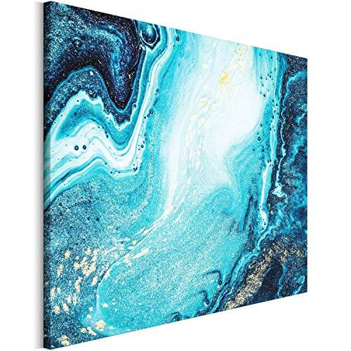 Revolio 120x80 cm Leinwandbild Wandbilder Wohnzimmer Modern Kunstdruck Design Wanddekoration Deko Bild auf Leinwand Bilder 1 Teilig - Acryl Acrylbild Modern Abstrakt blau