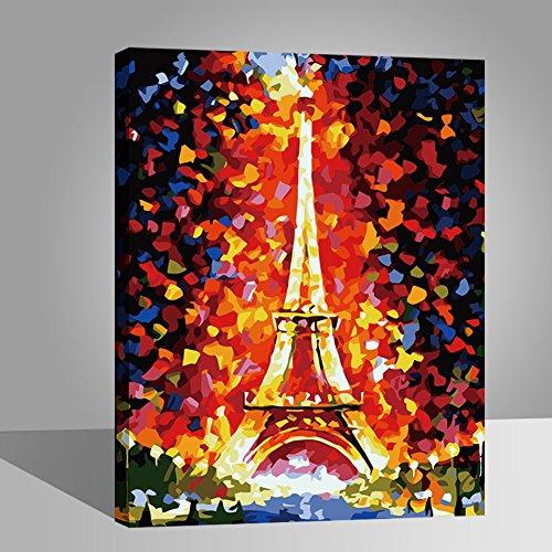 Marco de madera, Rihe Pintura por números DIY Pintura al óleo para Adultos Niños Decoraciones para el Hogar regalo de Navidad - Torre Eiffel 16 * 20 Pulgadas