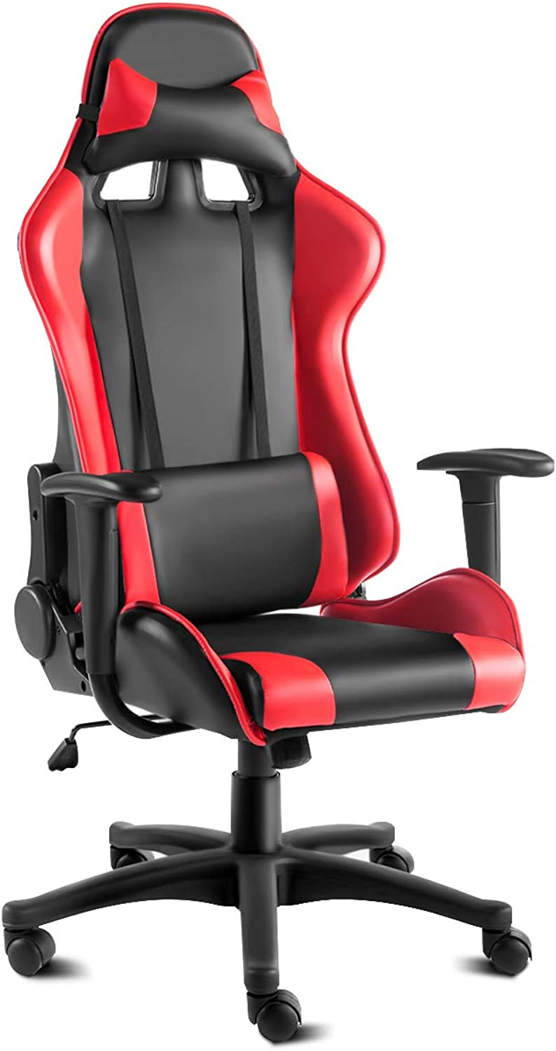 Multigot Racing Office Chair with PU High Back, Padded Seat, 5 Castors, Adjustable Height & 360° Swivel Computer Gaming Chairs, Red
