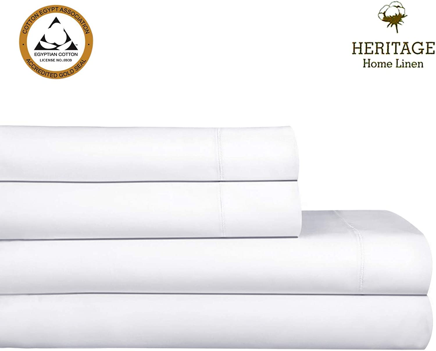 """Heritage Home Linen Queen Luxury Sheet Set 1000 Thread Count 100% Egyptian Cotton Single Ply Long Staple Yarn Solid Sateen Deep Pockets Upto 18"""" fit Fade & Stain Resistant 4 Piece (Queen,White)"""