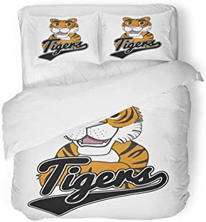 Emvency Bedding Duvet Cover Set Full/Queen (1 Duvet Cover + 2 Pillowcase) Orange Animal Tiger Mascot Design Arms Crossed Baseball Black Cartoon Character Hotel Quality Wrinkle and Stain Resistant