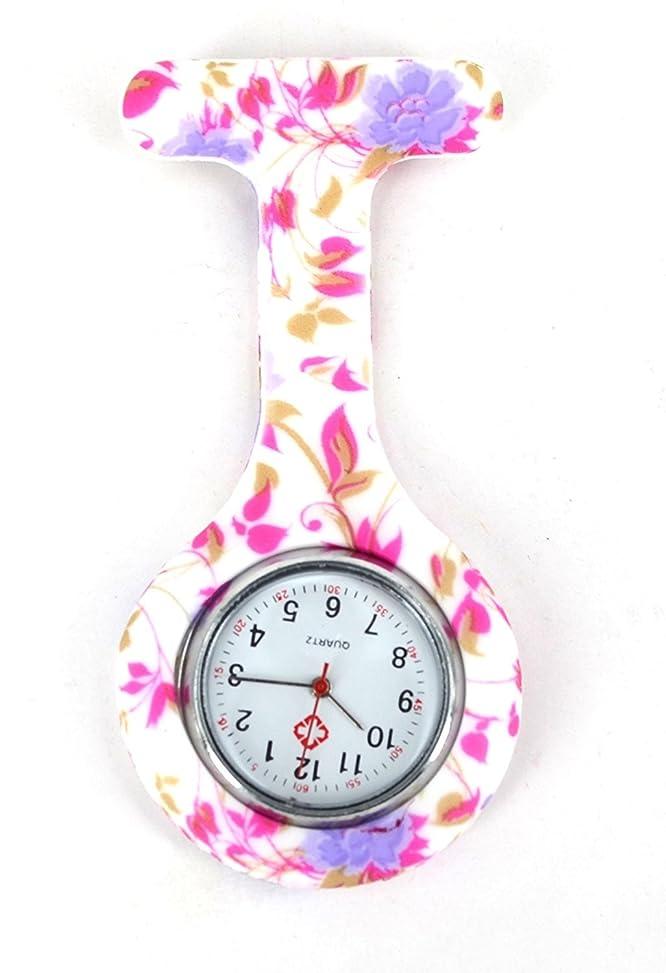 スタンドわがまま扇動するBoolavard? TM Nurses Fashion Coloured Patterned Silicon Rubber Fob Watches - Pale Purple Flowers