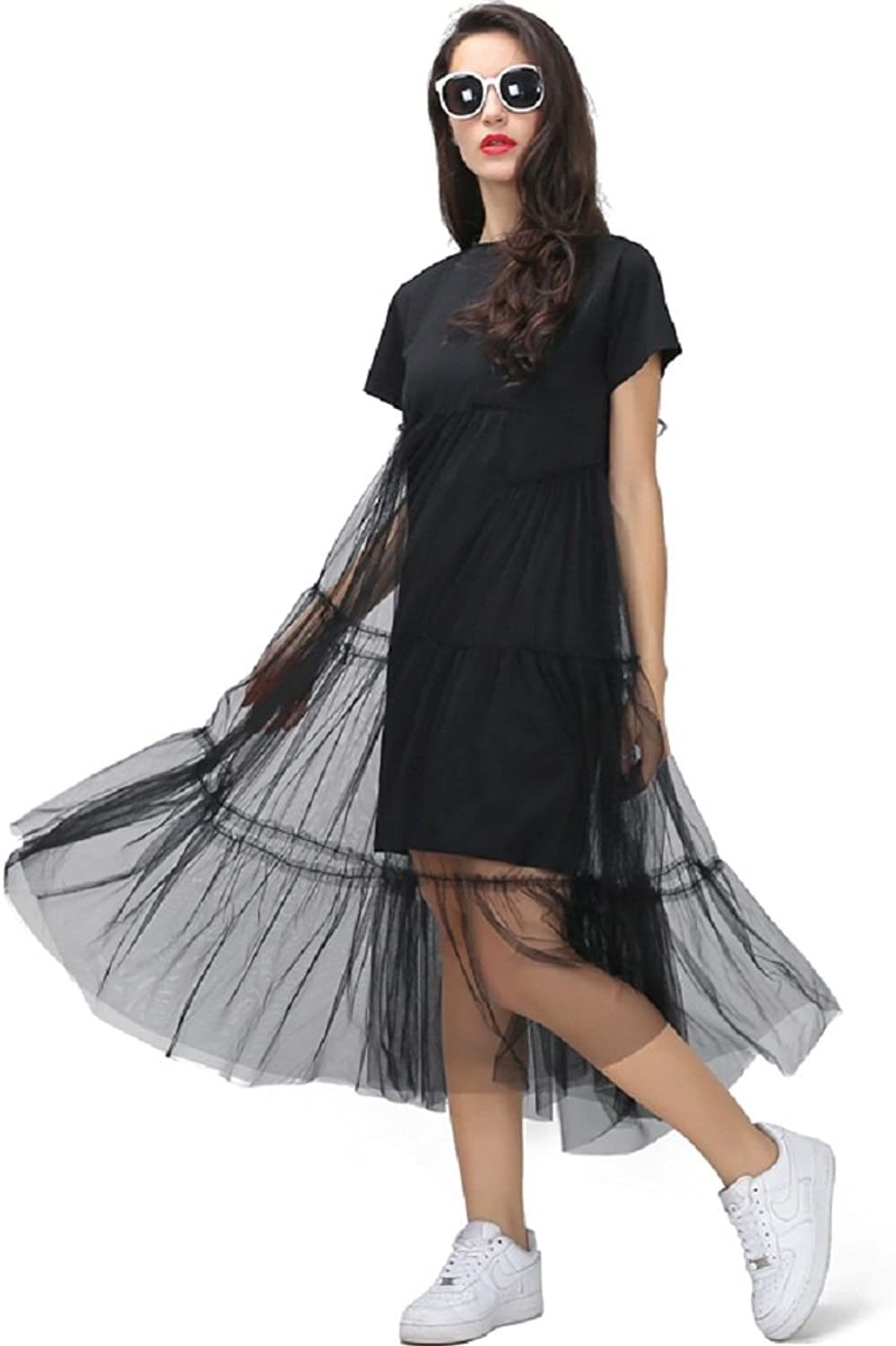 Mingning Summer Splicing Pleated Tulle T Shirt Dresses for Women Plus Size Solid