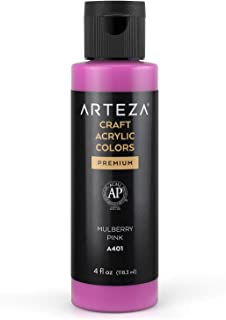 Arteza Craft Acrylic Paint, A401 Mulberry Pink, 4fl oz (118 ml) Bottles, Water-Based, Blendable, Matte Acrylic Paints for ...