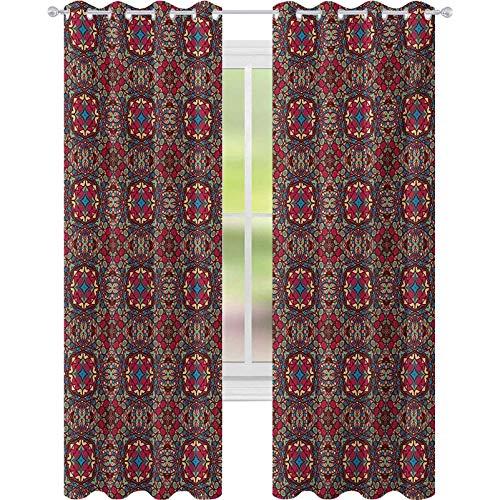 Cortinas opacas para niños, árabe árabe oriental árabe medio colorido vivo flor detallada impresión artística, W52 x L95 cortinas opacas para habitación de niños, multicolor